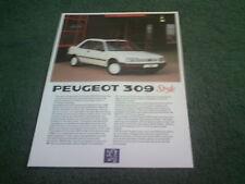 June 1988 PEUGEOT 309 STYLE 3 DOOR Special Edition UK BROCHURE - MINT