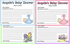 20 PERSONALIZED BABY SHOWER FAVORS ~ ADVICE CARDS