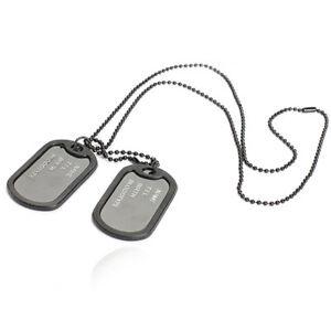 Dog Tag Hundemarke Halskette Kette 2 Anhänger Herren  Armee Army Edelstahl Schwa