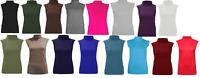 Ladies Stretch Jersey Turtle Neck Sleeveless Lightweight Top Tshirt UK Size 8-26