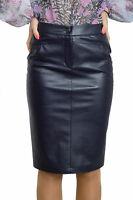 Office Work Straight Pencil Bodycon Faux Leather Blue Skirt 8 10 12 14 16 18