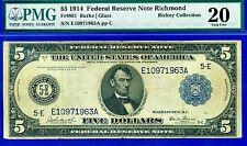FR-861 1914 $5 FRN (( Richmond )) PMG Very-Fine 20 ** Burke-Glass ** E10971963.