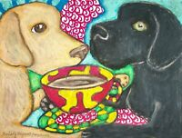 Labrador Retriever Coffee ACEO PRINT Dog Mini Art Card 2.5X3.5 KSAMS Collectible