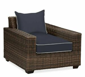 Pottery Barn Torrey Square Arm Occasional Chair Slipcover Sunbrella Piped Navy