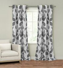 "Set of Two (2) Window Curtain Panels: 110"" x 84"", Grommets, White with Gray Leaf"