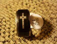 Black with Silver Cross Stainless Steel Spinner Ring - New Size 7