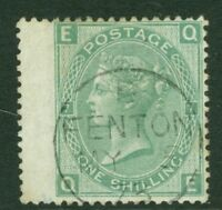 SG 117 1/- green plate 7. Very fine used with a Fenton CDS, May 5th 1873 CAT £90