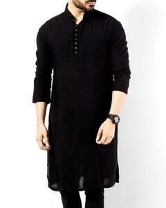 BLACK Shirt Kurta 100%Cotton Indian Ethnic Dress Summer Tops Tunic Kurta Pajama