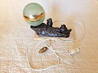 Ancienne lampe chevet-oiseaux-moineaux art-déco-veilleuse boule en verre verte