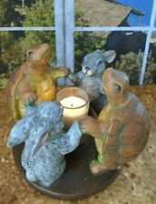 Shabby Chic Tortoise & The Hare Turtle & Bunny Rabbit Votive Candle Holder 2001