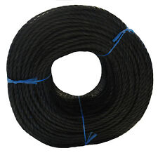 18mm Black Polypropylene Rope Poly Plastic Strong PP Floating 3ply x 220m Coils