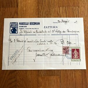 G) Fattura carta intestata Gorizia 1929 marca da bollo chiudilettera Ass Combatt