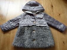 IKKS Absolument incroyable Gris Manteau avec bordure en fourrure synthétique taille 18 mois Excellent cond