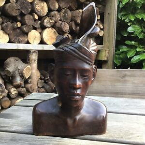 Old Vintage Retro Balinese Hand Carved Hard Wood Male Bust AF Fab Patina