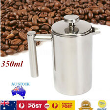 AU 350ML Double Stainless Steel French Press Coffee Maker Tea Mug Plunger Filter