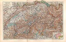 Die Schweiz Kanton Alpenstrasse  historische Landkarte 1907 Zürich Bern Genf
