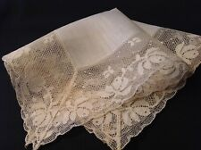 #4330🌟Gorgeous Vintage Age Tanned Ivory Wide Lace Wedding Handkerchief