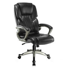 Black Executive Ergonomic High Back PU Leather Armchair Footrest Office Chair