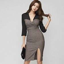 Womens Fashion Sexy Two Tone Deep V 3/4 Sleeve Slit Package Hip Pencil Dress