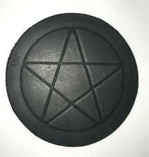 REAL LEATHER COASTER EMBOSSED PENTAGRAM ON THICK HIDE -- NEW PRODUCT!