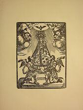 Antigua xilografía impresión ~ imagen gótica religiosa Virgen María con Niño