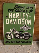 HARLEY DAVIDSON MOTORCYCLE 1949 FL Hydra-Glide PORCELAIN METAL DEALER SIGN