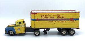 RARE - Vintage LineMar Marx Watson Bros Friction Moving Trailer Truck Tin Litho