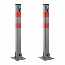 2x Absperrpfosten eckig Sperre Durchfahrten Parkplatzsperre Stahl Sperrpfosten