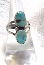 Morenci Turquoise Two Stone Sterling Ring Navajo GBoyd signed sz 7
