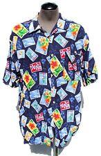 Vtg M.E. Sport Hawaiian Beach Flowers Rayon Button Down Collar Shirt Medium