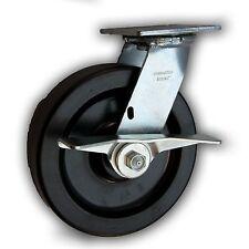 """8"""" x 2"""" Heavy Duty Swivel Caster w/ Phenolic Wheel & Side Brake 1250#"""