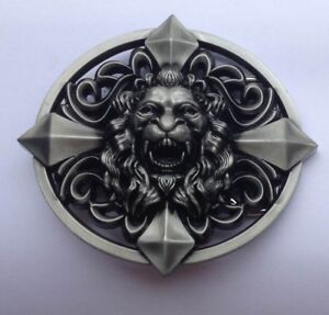 ✖ Knights Medievel Style LION Cross Belt Buckle Metal Silver color US Seller