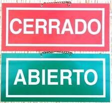 ABIERTO / CERRADO. CARTEL LETRERO CON CADENA 23 X 10 CMS. PLACA SEÑAL