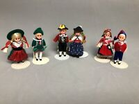 "Rare Lot 6 Mini 3"" Dolls with Sleepy Eyes & Stand German Dutch National Dresses"