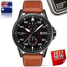 Hugo Boss Mens Aviator Watch Black Dial IP Steel Tan Brown Leather 1513517