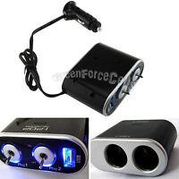 2 Way Car Cigarette Lighter Socket Splitter USB Charger Power Adapter DC 12/24V