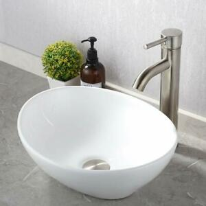 Bathroom Ceramic Counter Top Basin Cloakroom Gloss Hand Wash Oval Sink White