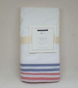 Pottery Barn Baby PBK Organic Cole Crib Skirt White Red Blue Gray Stripe NEW