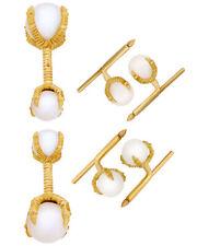 Assael 18K Yellow Gold And Pearl Cufflinks Set P3409