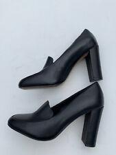 Vintage Saks Fifth Avenue Black Pumps Block Heels Shoes Retro Leather Size 7 M