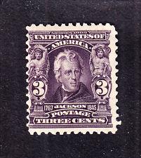 Us 302 3c Jackson Mint Fine Og Nh Scv $130
