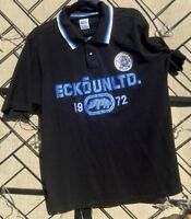 ECKO Unlimited Rhino Men's Black Blue Large Short Sleeve Rugby Polo Shirt