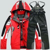 Mens Winter Ski Suit Jacket Waterproof Coat Pantsuits Snowboard Snowsuits Hooded
