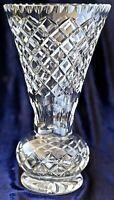 Vintage Retro Diamond Cut Crystal Trumpet Vase