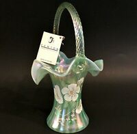 "FENTON BASKET 95TH ANNIVERSARY HAND PAINTED 9 3/4"" SIGNED GREEN IRIDESCENT GLASS"