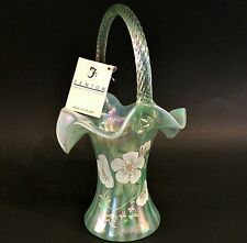 """FENTON BASKET 95TH ANNIVERSARY HAND PAINTED 9 3/4"""" SIGNED GREEN IRIDESCENT GLASS"""