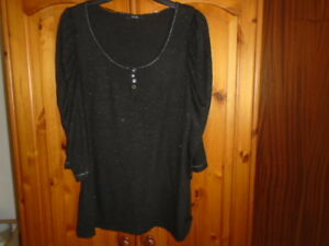 1 Black and silver sparkle scoop neck top, 3/4 length ruched sleeves, GEORGE, 14