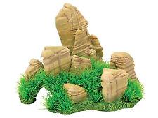 Rock Cave with Grass FIsh Tank Aquarium Reptile Hide Vivarium Ornament