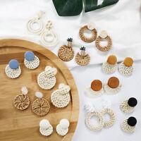 Fashion Women Handmade Wood Bamboo Rattan Shell Pendant Dangle Drop Earrings New