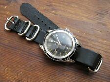 Black Leather 'Nato-Zulu'-Style Watch Strap Band 18mm